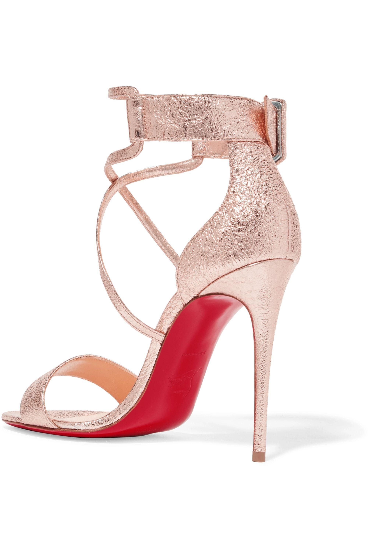 Christian Louboutin Choca 100 metallic cracked-leather sandals