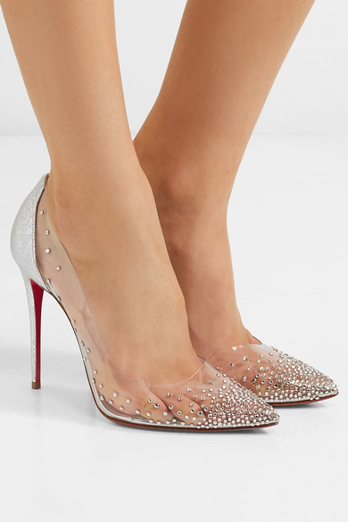 f7decf730df9 Christian Louboutin. Degrastrass 100 crystal-embellished PVC and metallic  cracked-leather pumps
