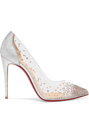 Christian Louboutin Degrastrass 100 crystal-embellished PVC and metallic cracked-leather pumps
