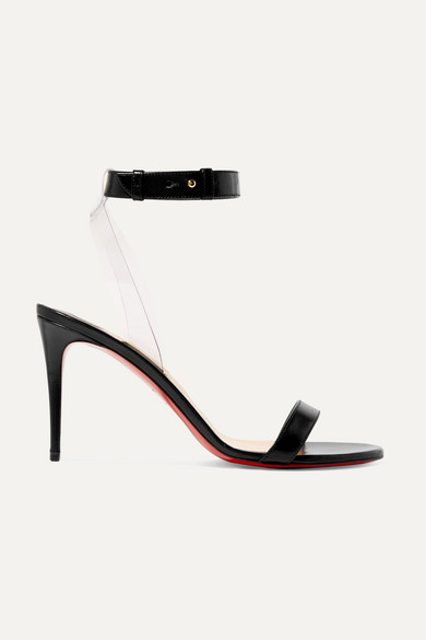 Louboutin 85 Pvc Jonatina In Christian Sandals Trimmed Leather xodCBe