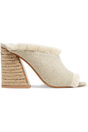 Izar raffia and fringed linen mules