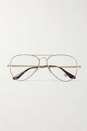 Aviator gold-tone and tortoiseshell acetate optical glasses