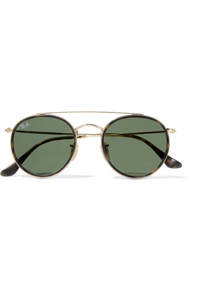 941067b93b Ray-Ban. Round-frame gold-tone and tortoiseshell acetate sunglasses