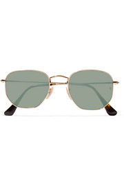 Square-frame gold-tone mirrored sunglasses