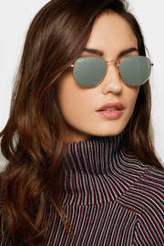 Ray-Ban Square-frame gold-tone mirrored sunglasses