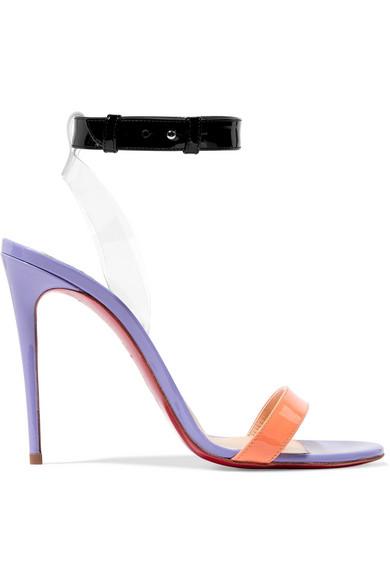 Christian Louboutin Jonatina 100 Sandalen aus Lackleder mit PVC-Besätzen