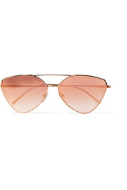Cat-eye rose gold-tone mirrored sunglasses