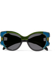 Prada Cat-eye color-block velvet and acetate sunglasses