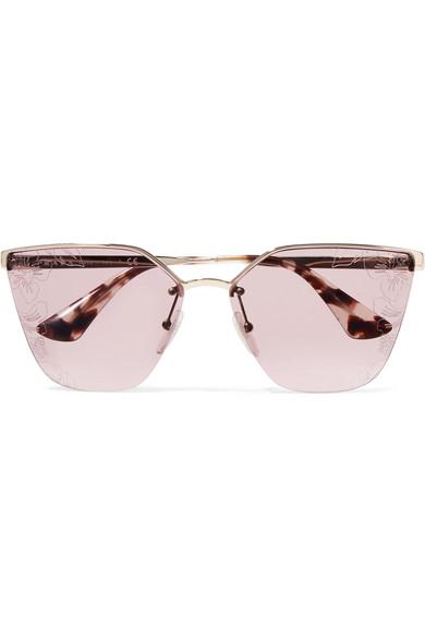 0ba85649b3 Prada. Cat-eye acetate and silver-tone sunglasses