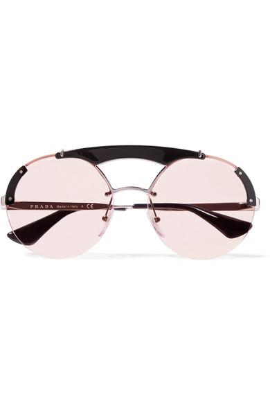 e024de73a1ec Prada | Round-frame acetate and silver-tone sunglasses | NET-A-PORTER.COM