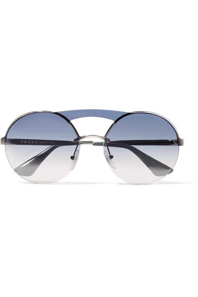 e72e087fee68 Prada | Round-frame silver-tone sunglasses | NET-A-PORTER.COM