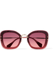 Miu Miu Square-frame glittered acetate and gold-tone sunglasses