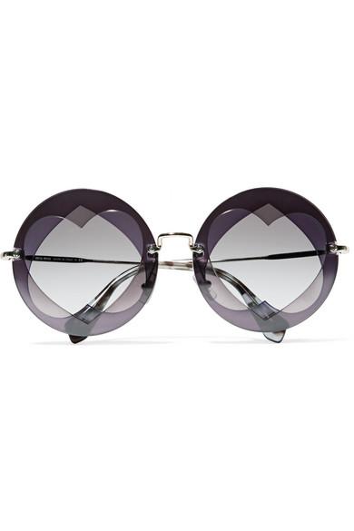 ed3031d6f7d Miu Miu. Round-frame layered acetate and gold-tone sunglasses