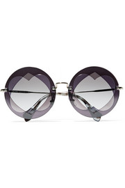 Round-frame layered acetate and gold-tone sunglasses