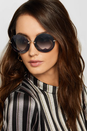 Miu Miu Round-frame layered acetate and gold-tone sunglasses