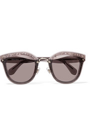 Cat-eye glittered acetate sunglasses
