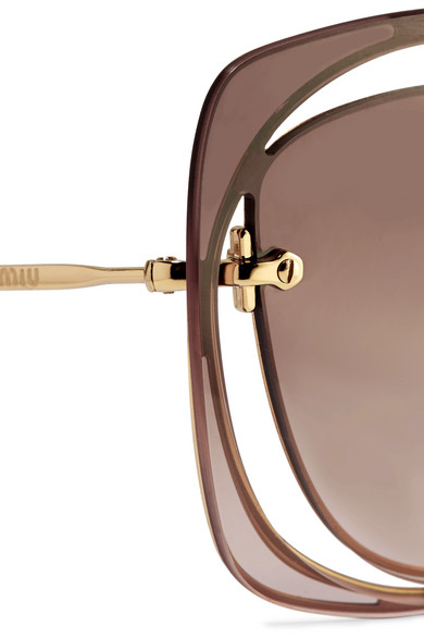 0f0690a6e4d6 Miu Miu. Scenique square-frame cutout acetate and gold-tone sunglasses.  $288.00. Zoom In
