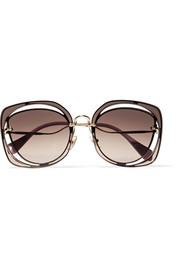 Scenique square-frame cutout acetate and gold-tone sunglasses