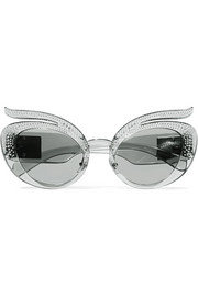 Cat-eye crystal-embellished acetate sunglasses
