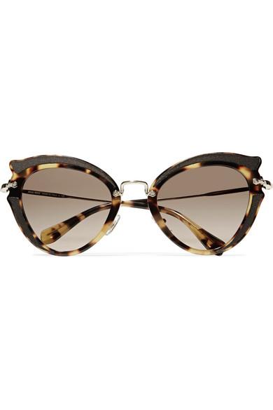 6c6457227ab Miu Miu. Cat-eye canvas-trimmed acetate and gold-tone sunglasses