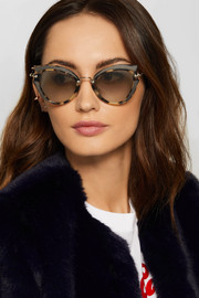Cat-eye canvas-trimmed acetate and gold-tone sunglasses