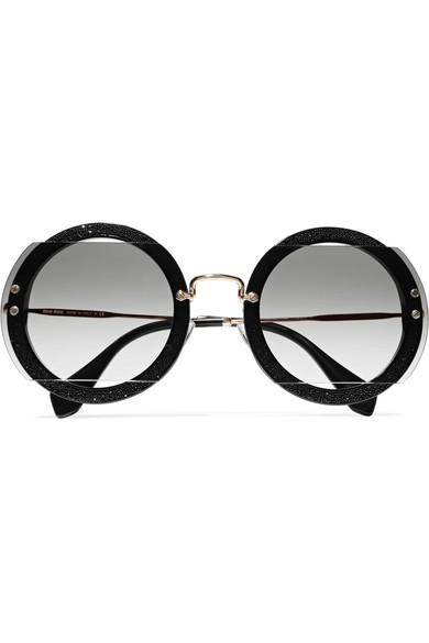 c1a4832ca2d Miu Miu. Round-frame cutout beaded acetate and gold-tone sunglasses
