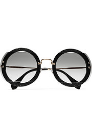 Round-frame cutout beaded acetate and gold-tone sunglasses