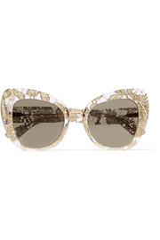 Cat-eye acetate and metallic lace mirrored sunglasses
