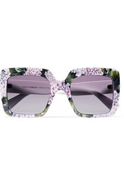 Square-frame printed acetate sunglasses