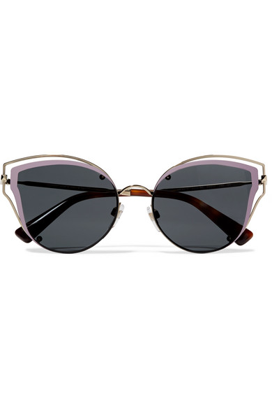 Cat-eye Acetate And Silver-tone Sunglasses - Pink Valentino vHp4Z9u