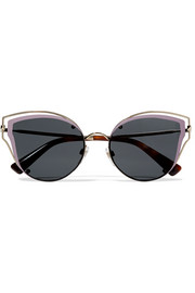 Cat-eye acetate and silver-tone sunglasses