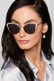 Valentino Cat-eye acetate and silver-tone sunglasses