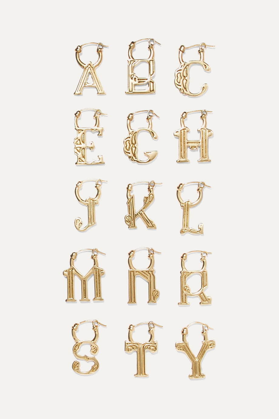 d7b587e131d6 Ellery Exclusive Az Alphabet Goldplated Earring Netaportercom | 2019 ...