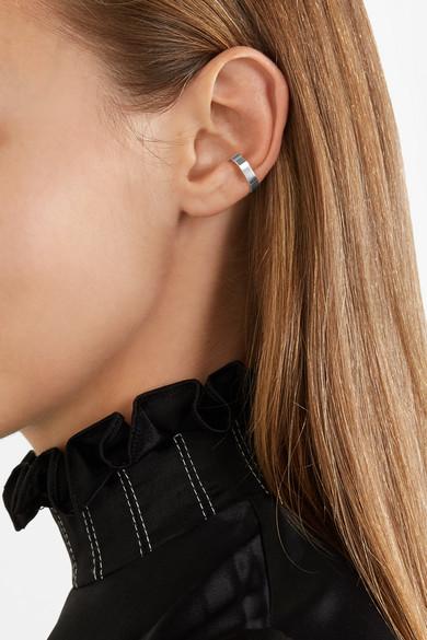 X Stripe Set Of Two Silver Ear Cuffs - one size Saskia Diez 89Qd3WRCz