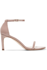 Nudist patent-leather sandals