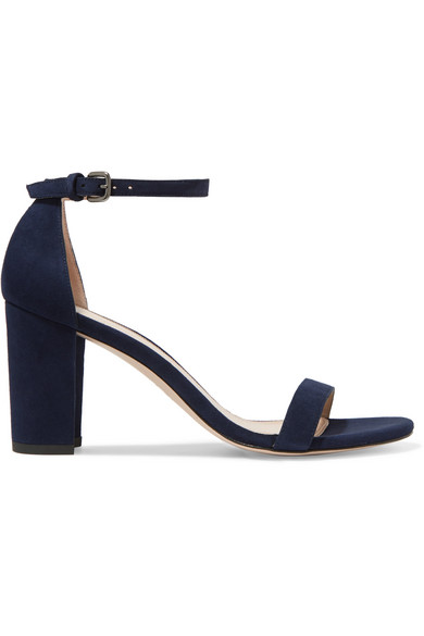 Nearly Nude Suede Sandals in Blue