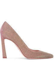 Stuart Weitzman Chicster textured-lamé pumps