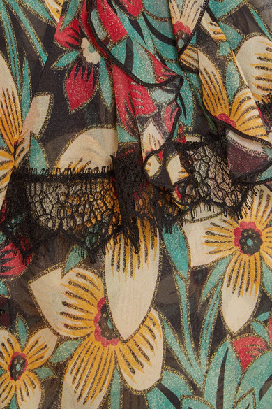 Rodarte Floral bedruckter Jumpsuit aus Seidensatin mit Spitzenbesätzen
