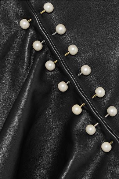 Rodarte Midirock aus Leder mit Verzierungen und Raffung