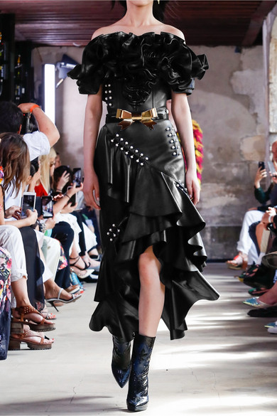 Rodarte Midi Skirt In Leather With Ornaments And Gathering