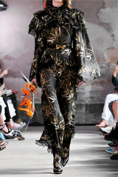Rodarte Hose mit weitem Bein aus bedrucktem Chiffon aus einer Seidenmischung mit Spitzenbesätzen