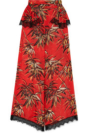 Rodarte Printed silk-blend satin wide-leg pants