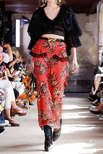 Rodarte Hose mit weitem Bein aus bedrucktem Satin aus einer Seidenmischung