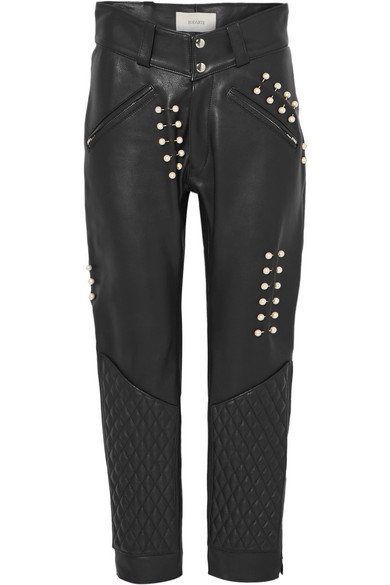 Rodarte FAUX PEARL-EMBELLISHED LEATHER PANTS