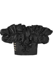 Rodarte Embellished ruffled leather bustier top
