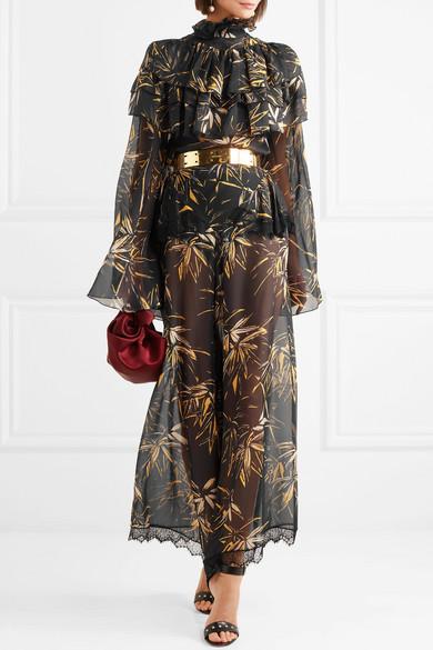 Rodarte Bluse aus bedrucktem Seidenchiffon mit Rüschen