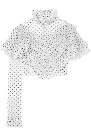 Rodarte Cropped ruffled polka-dot flocked tulle blouse