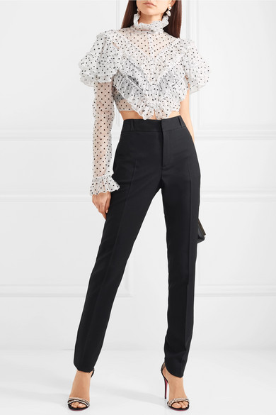 Rodarte Verkrüzte Bluse aus beflocktem Tüll mit Polka-Dots und Rüschen