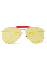 Thom Browne Aviator-style rose gold-tone mirrored sunglasses