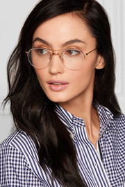 Aviator-style gold and silver-tone optical glasses